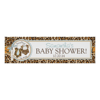 Twin Boys Bow Tie Cheetah Print Baby Shower Banner