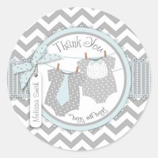 Twin Boys Bow Tie Chevron Print Thank You Label