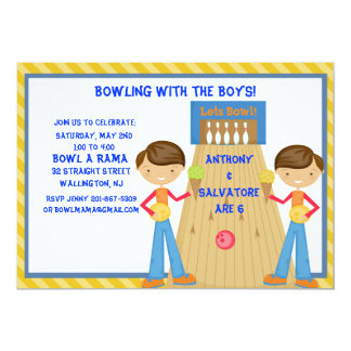 Twin Boys Bowling Birthday Party Invitation