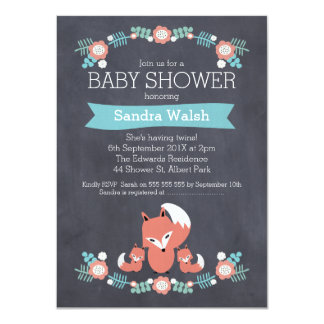 Twin Boys Chalkboard Fox Baby Shower Invitation