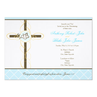 "Twin Boys Christening/Baptism Invitation 5"" X 7"" Invitation Card"