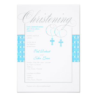 "Twin Boys Christening Invitation 5"" X 7"" Invitation Card"