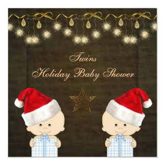 """Twin Boys Christmas Baby Shower 5.25"""" Square Invitation Card"""