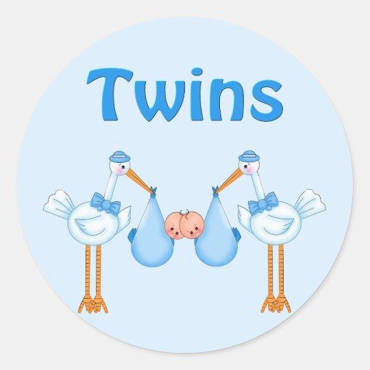 Twin Boys Classic Round Sticker