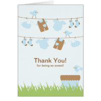 Twin Boys Clothesline Thank You Note Card