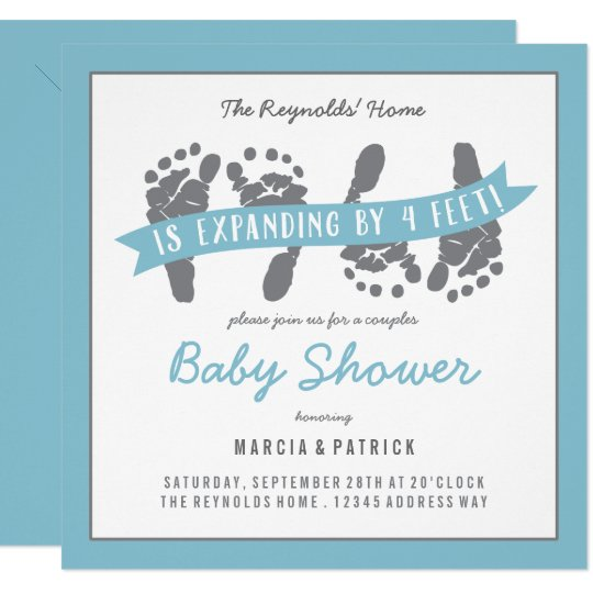 Twin Boys S Shower Blue And Gray Baby Invitation Zazzle