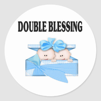 Twin Boys  Double Blessing Classic Round Sticker