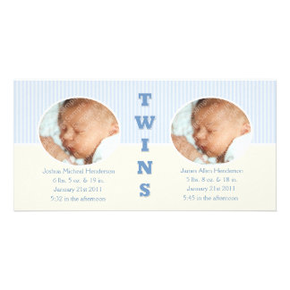 Twin Boys Double New Baby Photo Cards