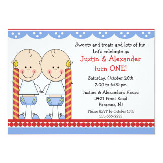 Twin Boys First Birthday 5x7 Paper Invitation Card