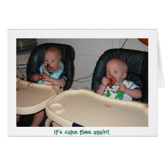 twin boys first birthday cake card
