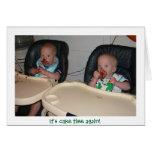 twin boys first birthday cake greeting card