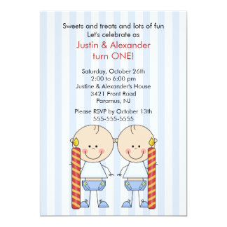 Twin Boys First Birthday Card