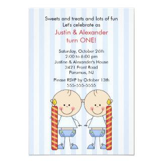 Twin Boys First Birthday Card