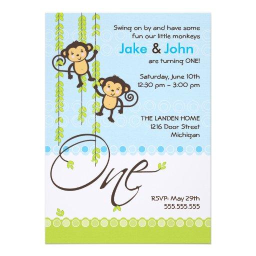 Twin Boys First Birthday Invitation