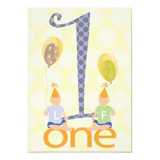 Twin Boys First Birthday Party Invitation