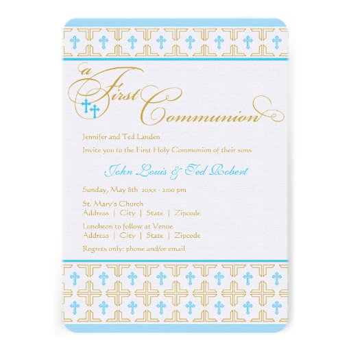 Personalized Twin boy first holy communion Invitations ...