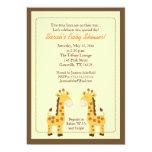 Twin Boys Giraffe 5x7 Baby Shower Invitation