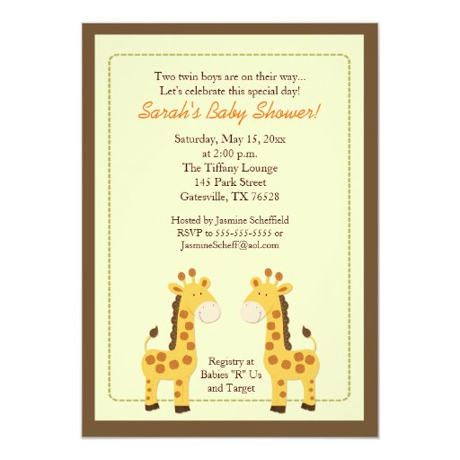Twin Boys Giraffe 5x7 Baby Shower Invitation