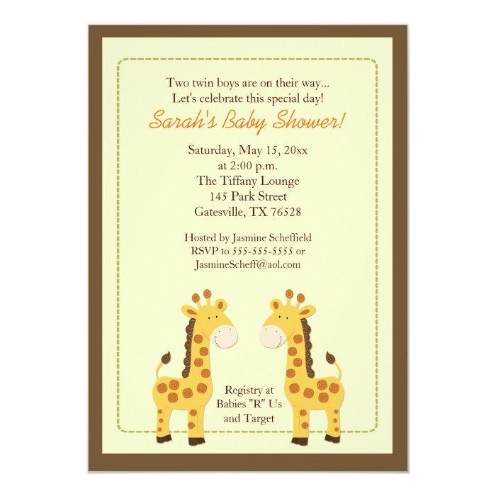 Twin Boys Giraffe 5x7 Baby Shower Invitation   Zazzle