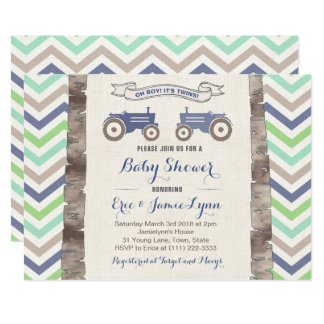 Twin boys green blue tractor chevron baby shower invitation