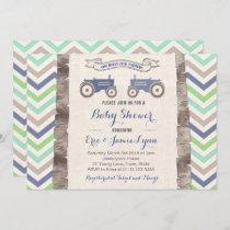 Twin boys green blue tractor chevron baby shower invitation