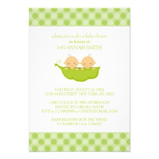 Twin Boys in a Pea Pod Baby Shower Invitations