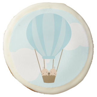 Twin Boys in Hot Air Balloon Baby Shower Sugar Cookie