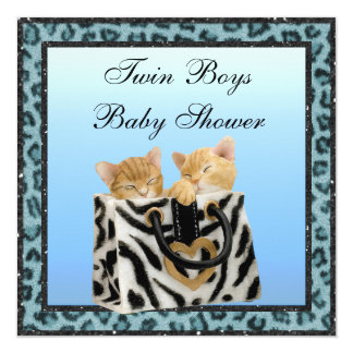 Twin Boys Kittens Blue Leopard Print Baby Shower Card