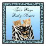 Twin Boys Kittens Blue Leopard Print Baby Shower Invite