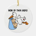 Twin Boys Mom Stork Gifts Ceramic Ornament