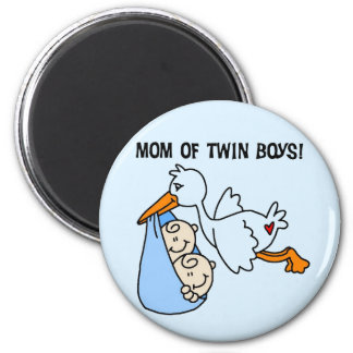 Twin Boys Mom-Stork Tshirts and Gifts 2 Inch Round Magnet