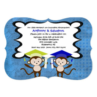 Twin Boys Monkeying Around Graduation Invitation
