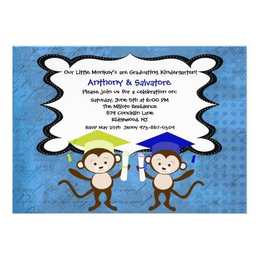 Twin Boys Monkeying Around Graduation Invitation