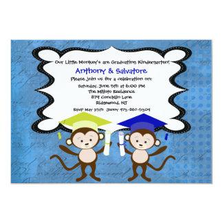 "Twin Boys Monkeying Around Graduation Invitation 5"" X 7"" Invitation Card"