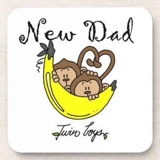 Twin Boys Monkeys New Dad Gifts Drink Coaster