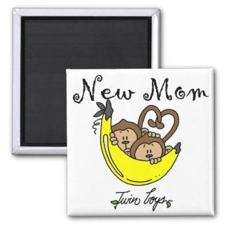 Twin Boys New Mom Tshirts and Gifts 2 Inch Square Magnet