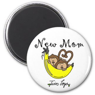 Twin Boys New Mom Tshirts and Gifts 2 Inch Round Magnet