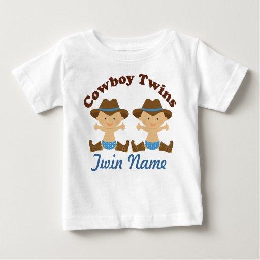 Twin Boys Personalized Cowboy Baby T Shirt Zazzle