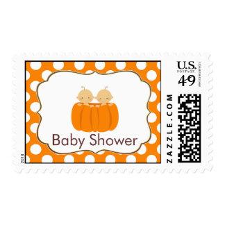 Twin Boys Pumpkin Baby Shower Postage Fall Orange