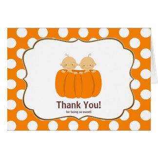 Twin Boys Pumpkin Thank You Note Card