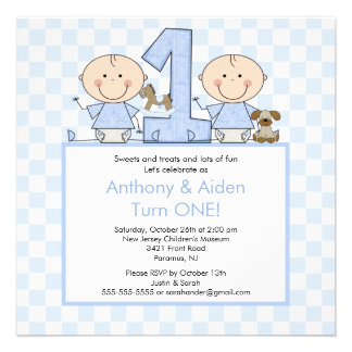 Twin Boys Stick Figure Twins Birthday Invitation