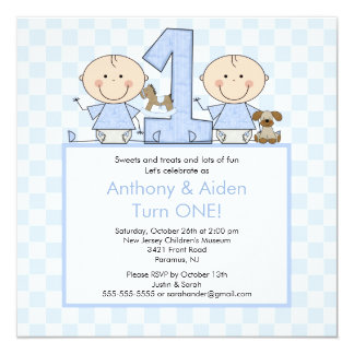 Twin Boys Stick Figure Twins Birthday Invitation