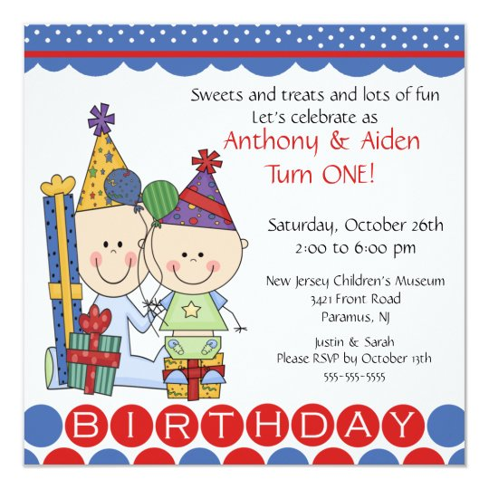 Twins First Birthday Invitations Announcements – Twin Birthday Invitation