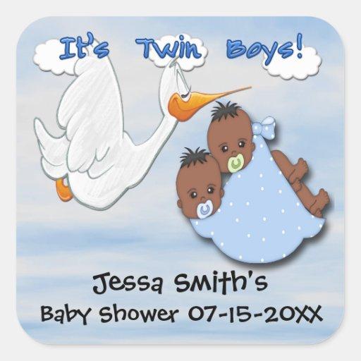twin boys stork b baby shower favor stickers zazzle