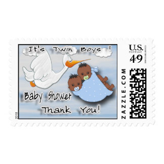 Twin Boys - Stork B Baby Shower Thank You Postage