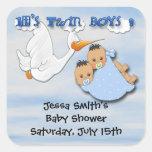 Twin Boys - Stork Baby Shower Favor stickers