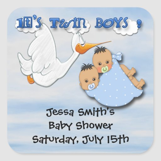 twin boys stork baby shower favor stickers zazzle