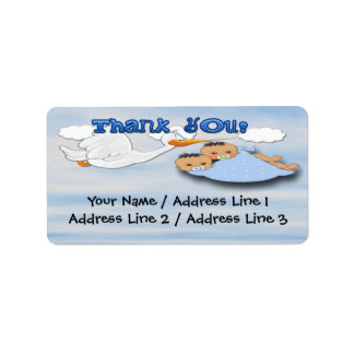 Twin Boys - Stork Baby Shower Thank you Address Label