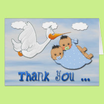 Twin Boys - Stork Baby Shower Thank You card