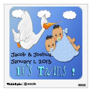 Twin Boys - Stork Keepsake Wall Decal